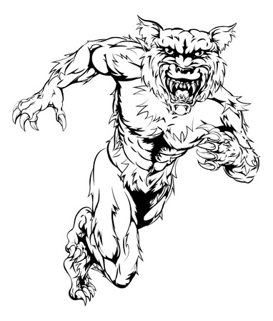 snarling: A werewolf wolf man character or sports mascot charging, sprinting or running
