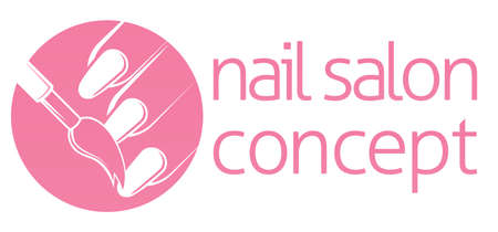 french manicure: Nail bar, nail technician or salon manicurist concept of a nail being painted with a brush Illustration