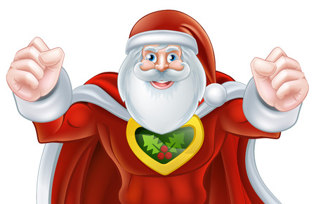 caped: Cartoon Santa Claus Christmas superhero character