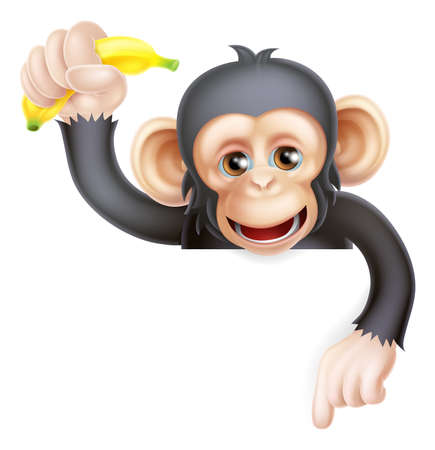 Cartoon chimp monkey like character mascot peeking above a sign holding a banana and pointing down  Illustration