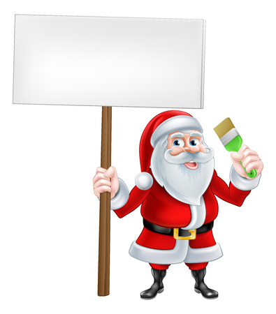 santaclaus: A Christmas cartoon illustration of Santa Claus holding sign and paintbrush