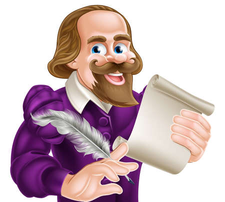 bard: Cartoon of William Shakespeare holding a feather quill and paper scroll Illustration