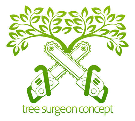 chainsaw: A crossed chainsaws and tree Tree Surgeon or gardener concept design Illustration