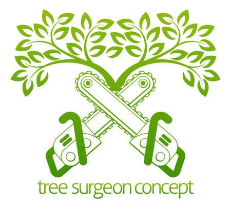 cirujano: A motosierras cruzados y árbol del cirujano de árbol o el diseño de concepto jardinero