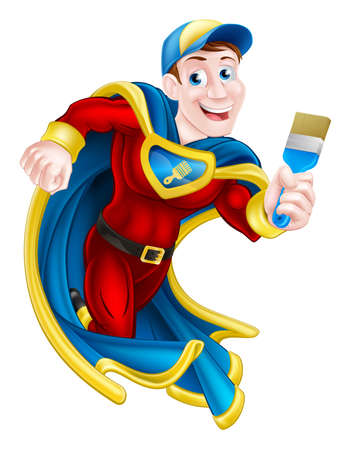 Super: Illustration of a cartoon decorator or painter superhero mascot holding a paintbrush