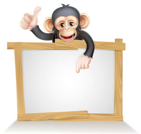 Chimp: Cute cartoon chimp monkey like character mascot peeking above a sign, pointing at it and giving a thumbs up Illustration