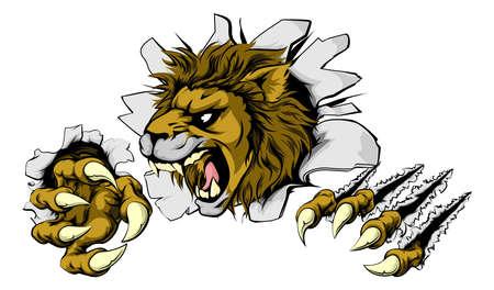 Un lion mascotte effrayant déchirant le fond avec des griffes acérées