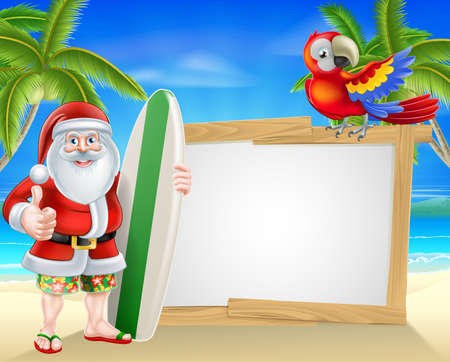 Cartoon of Santa holding a surf board and giving a thumbs up in his Hawaiian board shorts and flip flop sandals in front of a sign on a beach with a parrot on the sign and palm trees in the background with copyspace