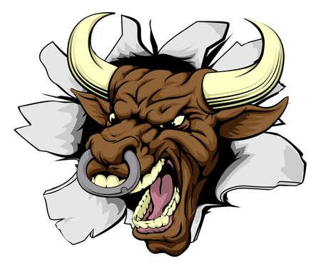 toros bravos: Dibujo ruptura alcista de carácter toro enojado dura media