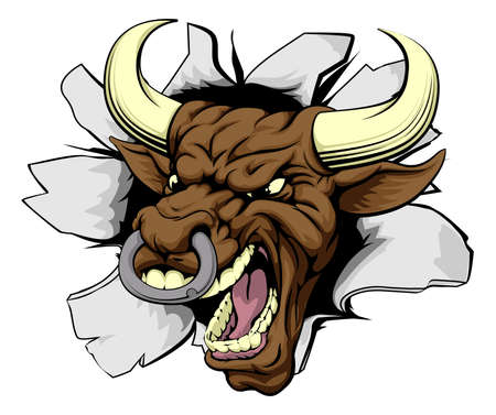 tare: Mean bull breakout drawing of a tough angry bull character Illustration