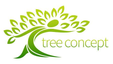 나무 사람 아이콘, 잎을 가진 사람 모양의 나무, 텍스트 사용에 빌려 준다