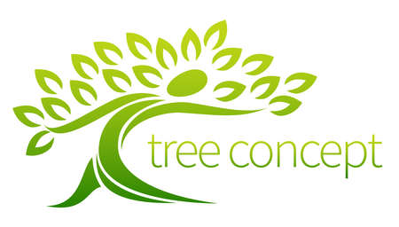 ecology emblem: Tree person icon, a tree in the shape of a person with leaves, lends itself to being used with text Illustration