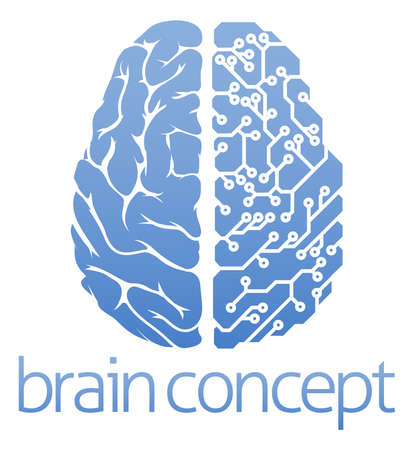 brain: An abstract illustration of a brain circuit board concept design