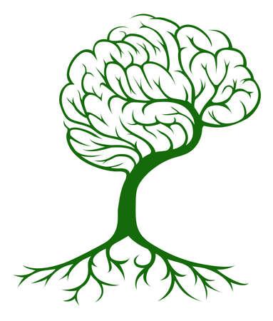 cerebro humano: Cerebro concepto de árbol de un árbol que crece en la forma de un cerebro humano. Podría ser un concepto para las ideas o inspiración