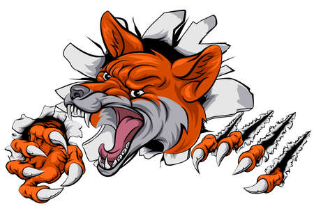 claws: An illustration of a fox animal sports mascot cartoon character tearing through background Illustration