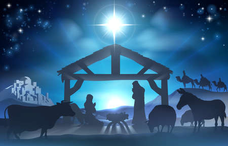 animal family: Traditional Christian Christmas Nativity Scene of baby Jesus in the manger with Mary and Joseph in silhouette surrounded by the animals and wise men in the distance with the city of Bethlehem