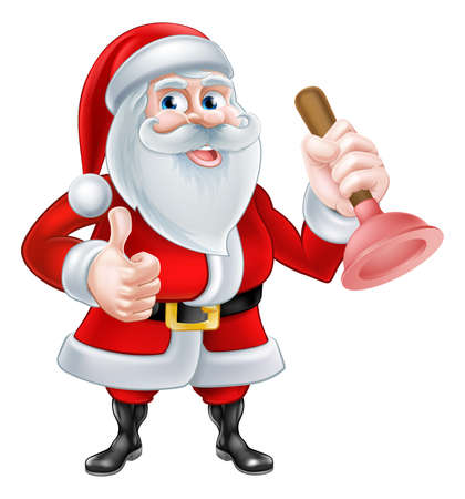 repair: A Christmas cartoon illustration of Santa Claus holding a plunger and giving a thumbs up