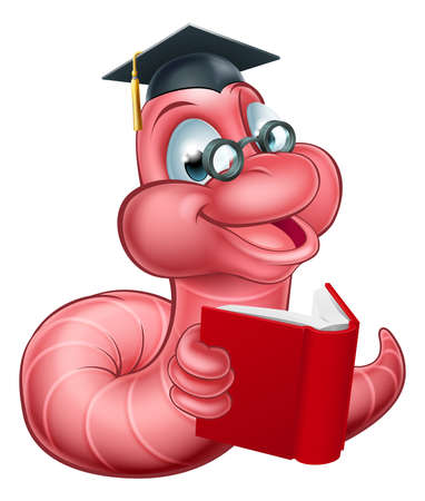 caterpillar worm: An illustration of a happy cute cartoon caterpillar worm mascot wearing glasses and graduation hat and reading a book