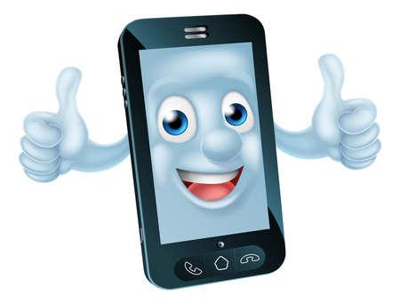 telefono caricatura: Un teléfono móvil de la mascota Personaje de dibujos animados Vectores