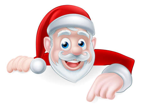 Cartoon cute Santa Claus Christmas illustration with Santa pointing down at a sign or message