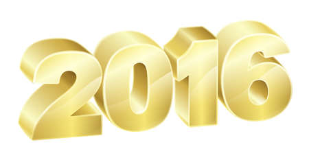 2016 in 3D gold text. New Years concept or relating to anything exciting in 2016.