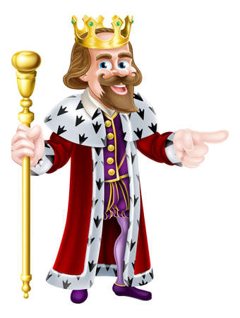 Happy King cartoon character wearing a crown, holding a sceptre and giving a thumbs up Illustration