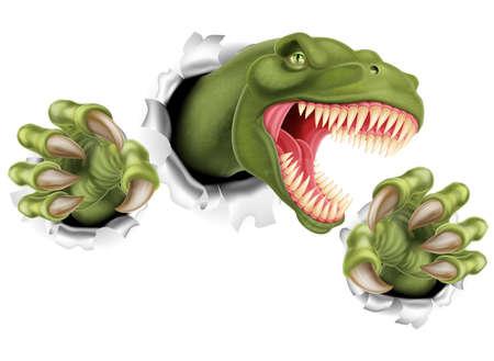 dinosaurio caricatura: AT Rex Tyrannosaurus Rex dinosaurio rayado, rasgando y desgarrando a través del fondo con sus garras Vectores