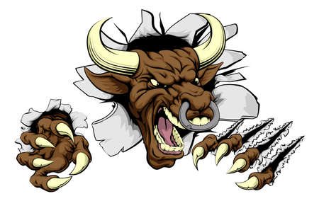 tough: Bull sports mascot concept of a mean looking tough bull smashing through a wall Illustration