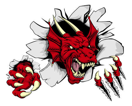 the red dragon: Cartoon fierce red dragon mascot animal character breaking through a wall