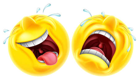 happy emoticon: Theatre comedy tragedy mask style emoji faces one laughing and one crying Illustration