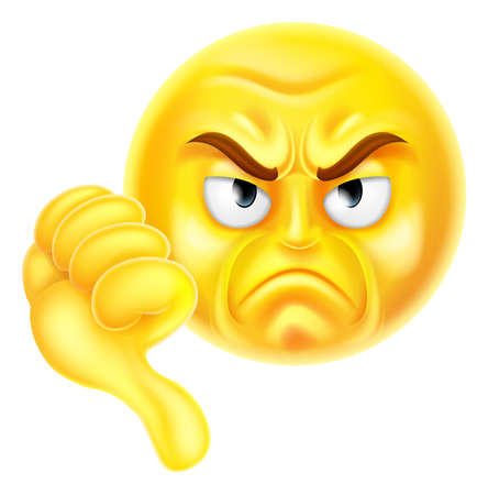 A cartoon emoji icon looking very disapproving or angry with his thumb down, he doesnt like it Illustration