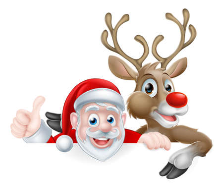 corners: Christmas illustration of cartoon Santa and reindeer peeking above sign and giving a thumbs up