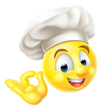 Emoji смайликов смайлик характер одет как шеф-повар с поваров шляпе, давая идеальный или хорошо знаком с его стороны Иллюстрация