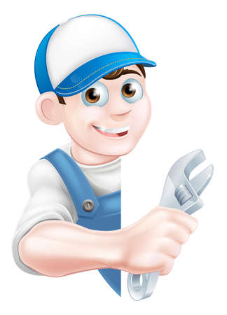 auto: Cartoon plumber or auto repair mechanic service handyman worker man peeking round sign and holding a spanner