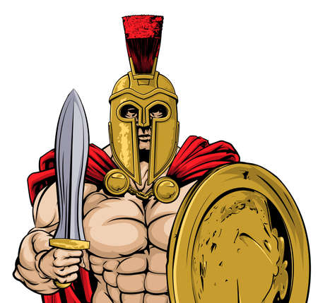 A gladiator, ancient Greek, Trojan or Roman warrior or gladiator wearing a helmet and holding a sword and shield
