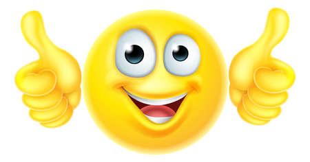 Een cartoon emoji emoticon pictogram personage kijken erg blij met zijn duimen omhoog, houdt hij Stock Illustratie