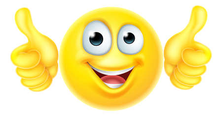 carita feliz caricatura: Un emoji historieta icono Emoticon del personaje que parece muy feliz con sus pulgares hacia arriba, a él le gusta Vectores