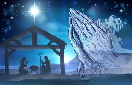 pesebre: Escena de la natividad cristiana de Navidad del Niño Jesús en el pesebre con María y José y manos orando