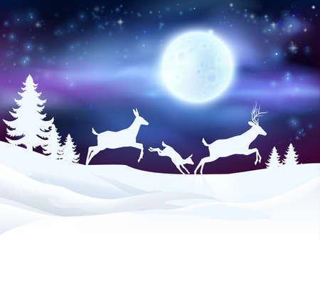 A winter Christmas scene featuring a deer family running in the snow in front of a big full moon in snow with Christmas trees