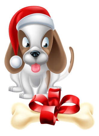 pupy: An illustration of a cartoon Puppy Dog wearing a Christmas Santa hat and looking longingly at a bone with a ribbon bow Illustration