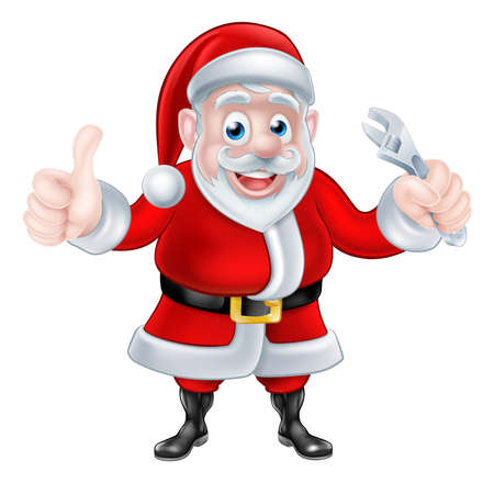 mechanics: Christmas cartoon Santa Claus holding wrench spanner and giving a thumbs up Illustration