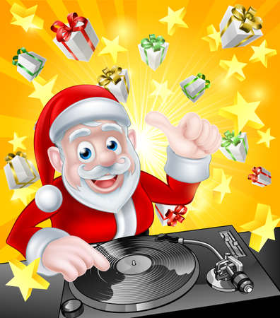 dj party: Cartoon Christmas Santa Claus DJ at the record decks with Christmas gift presents and stars in the background