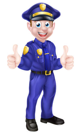 cartoon police officer: An illustration of a cute cartoon policeman character giving a thumbs up