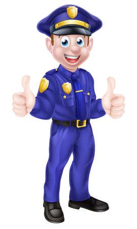 gorra polic�a: Una ilustraci�n de un personaje de dibujos animados lindo polic�a dando un pulgar hacia arriba
