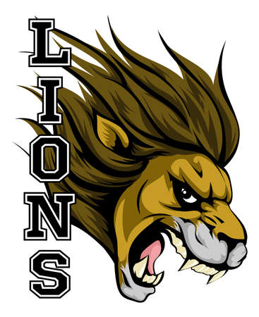 lion roar: An illustration of a lion sports mascot head with the word lions Illustration