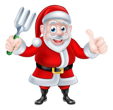garden maintenance: Christmas cartoon Santa Claus holding fork and giving a thumbs up