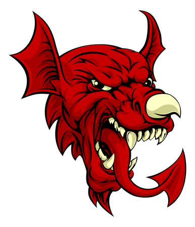 An illustration of the Welsh national symbol of the red dragon Y Ddraig Goch with the same features as on the flag of wales, like the nose horn and tongue. Great sports mascot.