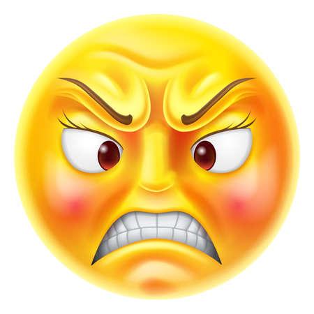 enfado: Enojado o furioso mirando carácter emoji caras emoticon rojo Vectores