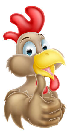 thumbup: A happy cartoon brown chicken mascot giving a thumbs up Illustration