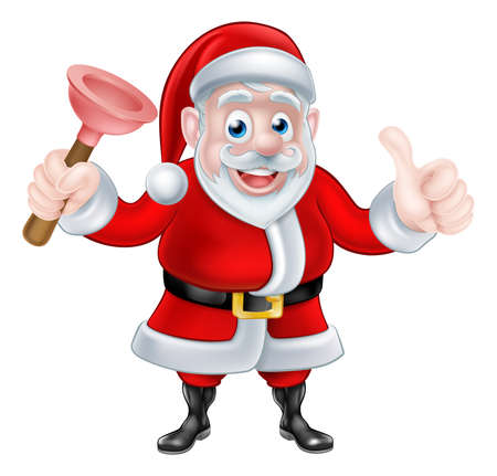 papa: Christmas cartoon Santa Claus holding rubber plunger and giving a thumbs up Illustration